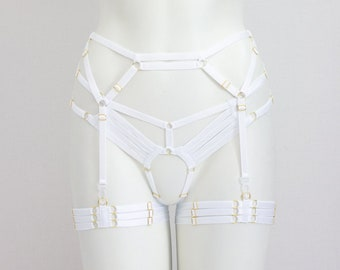 Wedding Garter Belt Set: Wedding Lingerie, White Lingerie, White Garter Belt, Harness Cage Garter, Waist Garter Belt, Glow UV Fashion, Rave