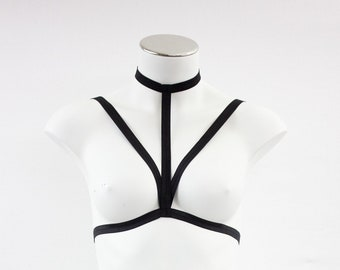 Body Harness: Harness Bra, Cage Bralette, Exotic Dancewear, Harness Lingerie, Bondage Lingerie, BDSM Lingerie, Festival Top Strappy Lingerie
