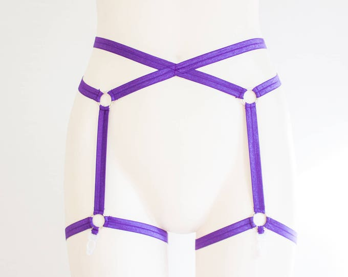 Purple Lingerie: Purple Garter Belt, Festival Accessories, Pin Up Fashion, EDM, Exotic Dancewear, Strappy Lingerie, Plus Size Clothing, Plum