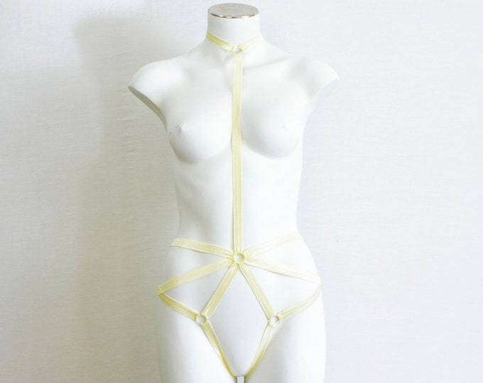 Yellow Body Harness: Pastel Goth Clothing, Pastel Yellow Lingerie, Exotic Dance Outfit, Festival Harness, Burlesque Costume, Halter Harness