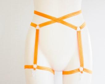 Orange Garter Belt: Adult Costume, Festival Fashion, Exotic Dancewear, Rave Outfit, Pumpkin, Halloween Clothing, Orange Clothing, Plus Size