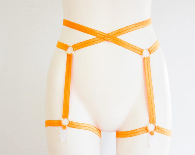 Orange Garter Belt: Adult Costume, Festival Fashion, Exotic Dancewear, Rave Outfit, Pumpkin, Halloween Clothing, Orange Clothing, Plus Size