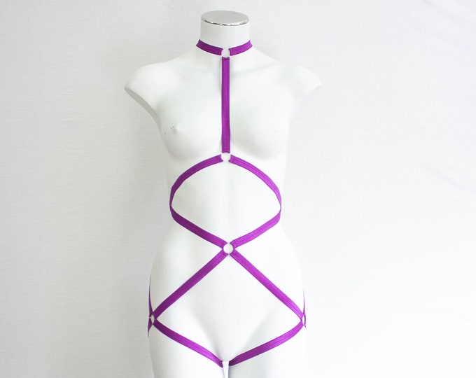 Neon Body Harness: Purple Lingerie, Exotic Dancewear, Festival Bodysuit, Strappy Lingerie, Burlesque Lingerie, Strappy Bodysuit, Dancewear