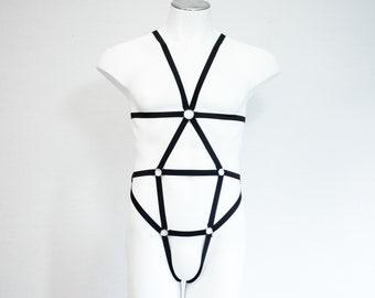 Mens Body Harness: BDSM Outfit, Black Fashion, Festival Costume, Black Bodysuit, Boudoir, Burlesque Lingerie, Rave wear, Sexy Mens Underwear