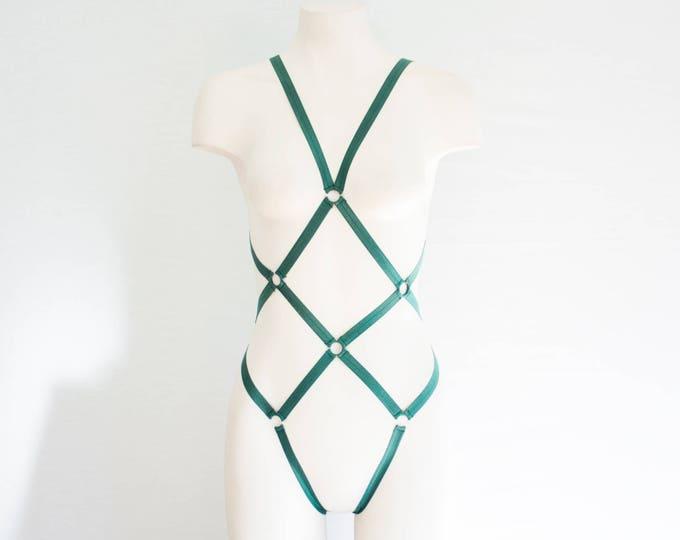 Green Body Harness: Green Lingerie, Exotic Dancewear, Festival Bodysuit, Strappy Lingerie, Burlesque Lingerie, Cut Out Lingerie, Fish Net