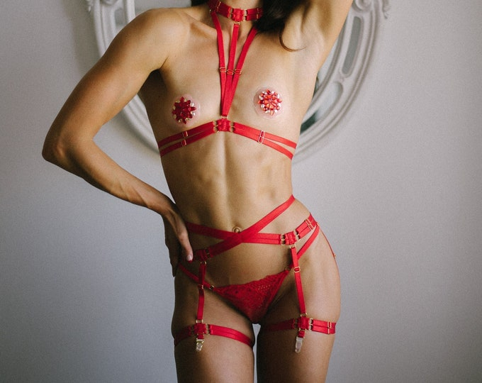 Red Harness Lingerie Set: Red Body Harness, Exotic Dancewear, Festival Fashion, Pin Up Outfit, Pole Fitness, Red Boudoir Costume, Strappy