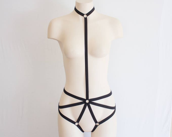 Black Body Harness: Exotic Dancewear, Bondage Lingerie, Strappy Lingerie, Burlesque Costume, Plus Size Harness, Harness Lingerie, Cut Out