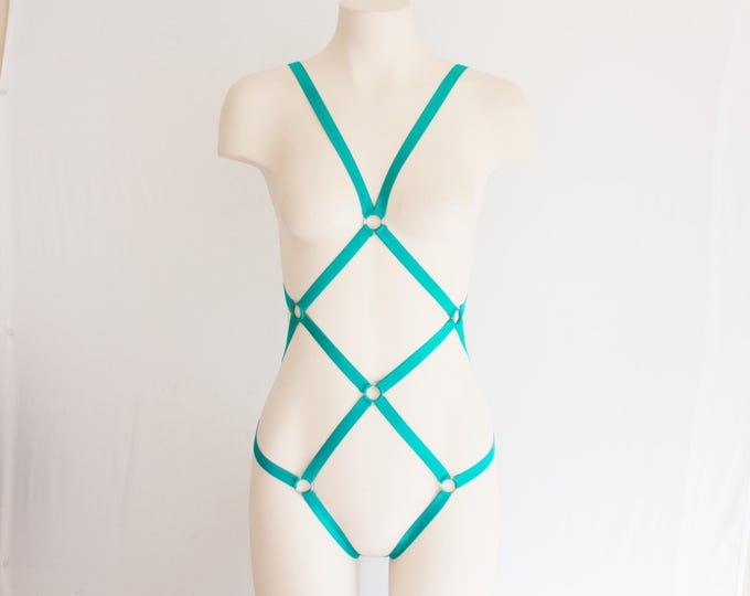 Jade Body Harness: Green Lingerie, Exotic Dancewear, Festival Bodysuit, Strappy Lingerie, Burlesque Lingerie, Cut Out Lingerie, Geometric