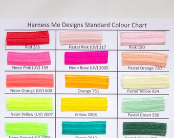 Harness Me Designs Elastic Colour Chart: Fold Over Elastic, Elastic Colour Chart, Rainbow Elastic, Harness Colour Chart, Elastic Swatches