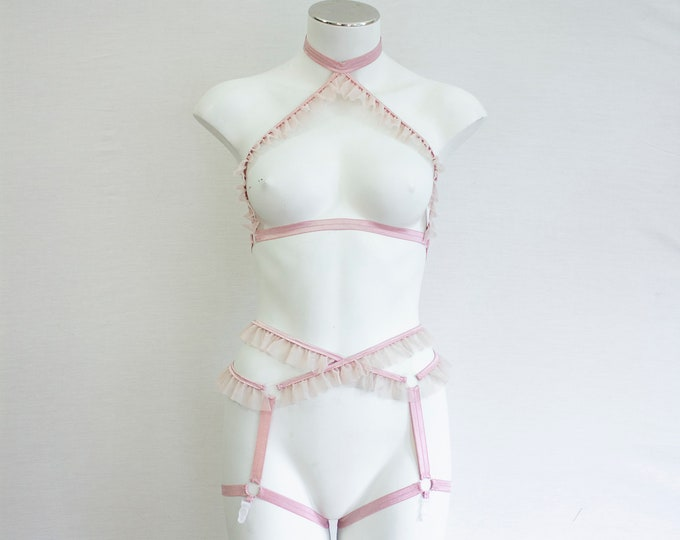 Pink Lingerie: DDLG, Pink Cage Bralette, Blush Pink Lingerie, Adult Ballete Costume, Burlesque Lingerie, Ruffle Lingerie, Pink Body Harness