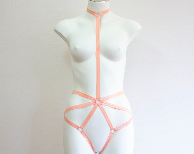 Pastel Lingerie: Orange Body Harness, Festival Fashion, Pastel Goth, Pastel Orange, Exotic Dancewear, Rave Clothing, EDM, Burlesque Outfit