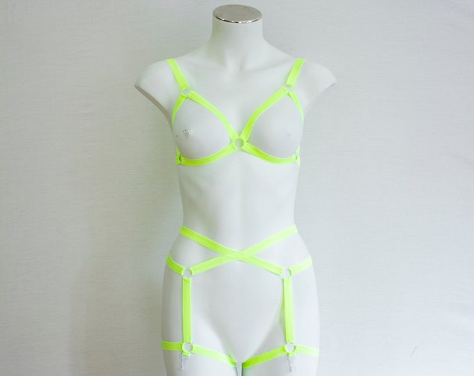 Rave outfit: Glow Clothing, Neon Lingerie, Glow Body Harness, Festival Bralette, Festival Shorts, Neon Yellow Body Harness, Exotic Dancewear