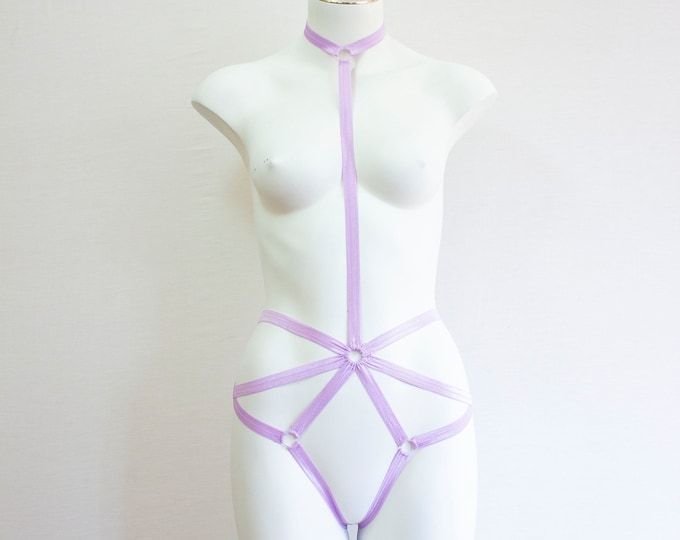 Purple Lingerie: Pride Outfit, Festival Fashion, Pastel Goth, Pastel Purple Clothing, Purple Body Harness, Exotic Dancewear, Rave Clothing