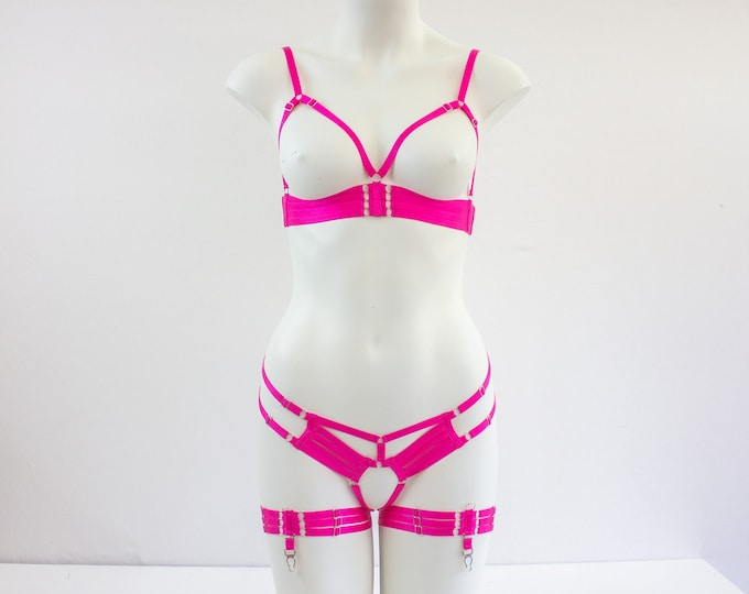 Pink Harness Lingerie Set: DDLG Bra & Pantie, Exotic Dancewear, Festival Fashion, Pin Up Outfit, Pole Fitness, Pink Boudoir Costume, Strappy