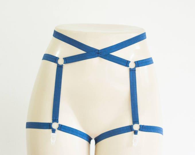Garter Belt: Harness Lingerie, Blue Garter, Navy Lingerie, Exotic Dancewear, Bondage Lingerie Plus Size Lingerie Festival Outfit Cage Garter
