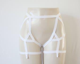 White Garter Belt: Wedding Lingerie, White Body Harness, White Body Cage, White Lingerie, Strappy Lingerie, Cage Garters, Bridal Lingerie