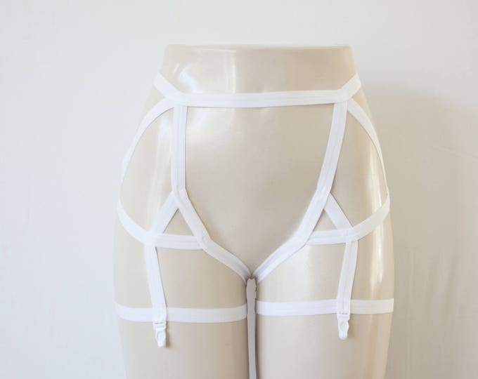 White Garter Belt: Wedding Lingerie, White Body Harness, White Body Cage, White Lingerie, Strappy Lingerie, Cage Garters, Bridal Lingerie