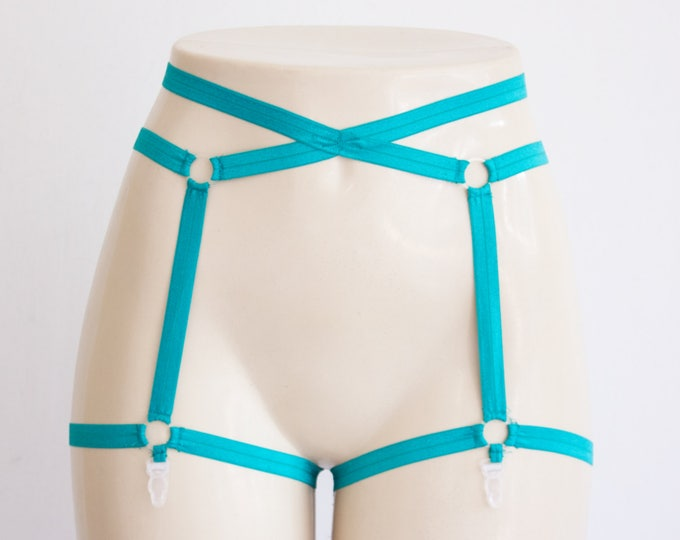 Green Garter Belt: Green Lingerie, Festival Costume, Pin Up Style, Body Harness, Cage Garter, Burlesque, Teal Underwear, Strappy Lingerie