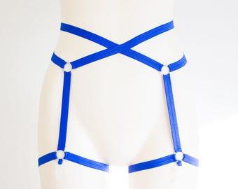 Porte-jarretelles bleu: Lingerie bleue, Festival mode, corps bleu harnais Lingerie, vêtements exotiques, ouverture entrejambe, culotte à lanières, Plus la taille
