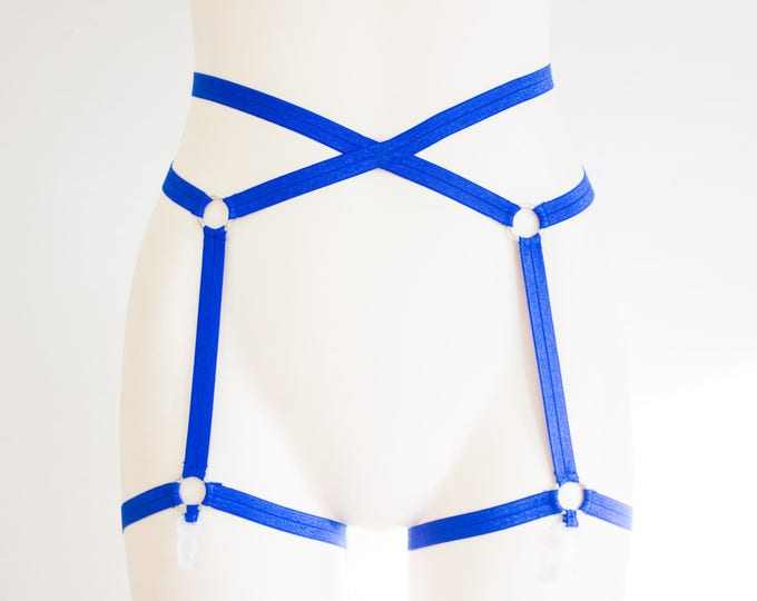 Blue Garter Belt: Blue Lingerie, Festival Fashion, Blue Body Harness Lingerie, Exotic Dancewear, Open Crotch, Strappy Panties, Plus Size