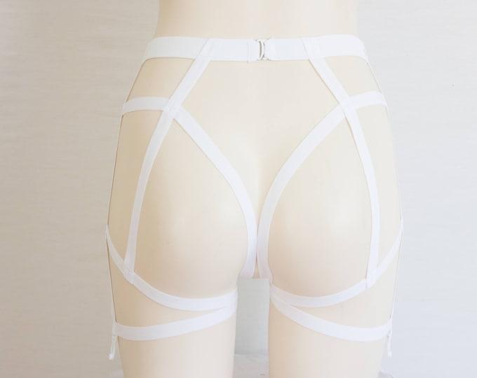 White Garter Belt: Wedding Lingerie White Body Harness Exotic Dancewear Strappy Lingerie Bondage Lingerie Open Crotch Garter Belt Plus Size