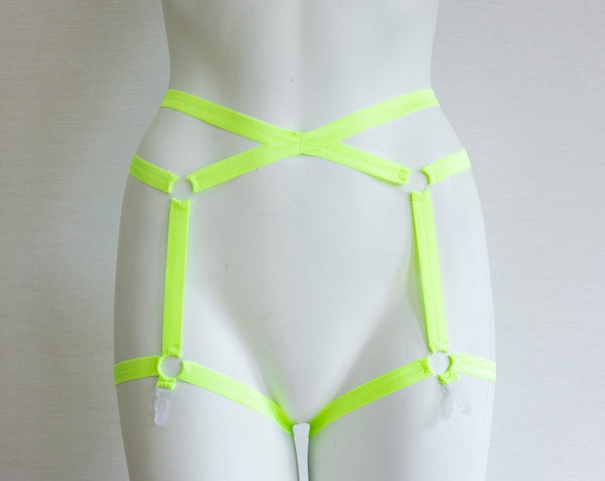 Glow Garter Belt: Neon Garter Belt, Yellow Lingerie, Festival Outfit, Ravewear, Exotic Dance Outfit, Glow Clothing, EDM, Pin Up, Burlesque