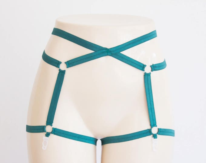 Green Lingerie: Body Harness Lingerie, Strappy Lingerie, Boudoir, Pin Up, Forest Green, Exotic Dancewear, Festival Harness, Rave Outfit