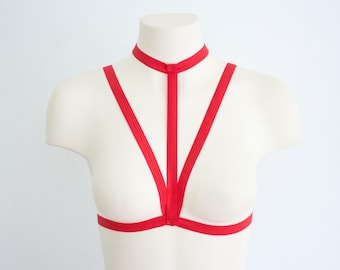 Red Body Harness: Red Lingerie, Red Cage Bra, Red Woman's Fashion, Festival Top, EDM, Harness Lingerie, Strappy Bralette, Exotic Dancewear