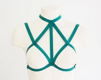 Body Harness: Cage Bra, Green Lingerie, Festival Lingerie, Exotic Dancewear, Strappy Lingerie, Green Harness, Halter Top, Plus Size Lingerie