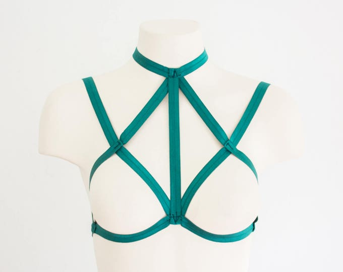 Body Harness: Cage Bra, Green Lingerie, Festival Lingerie, Exotic Dancewear, Strappy Lingerie, Green Harness, Halter Top, Plus Size Lingerie
