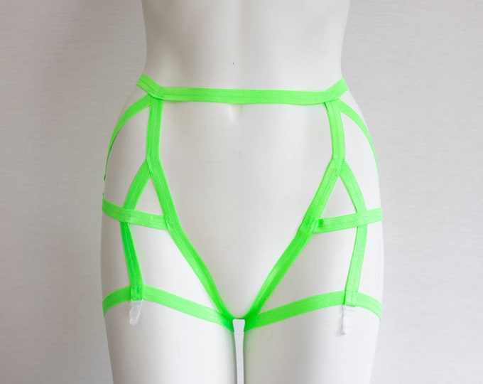 Neon Green Lingerie: Neon Green Garter Belt, Glow Clothing, Festival Fashion, Burlesque Costume, UV, EDM, Exotic Dance Outfit, Rave wear