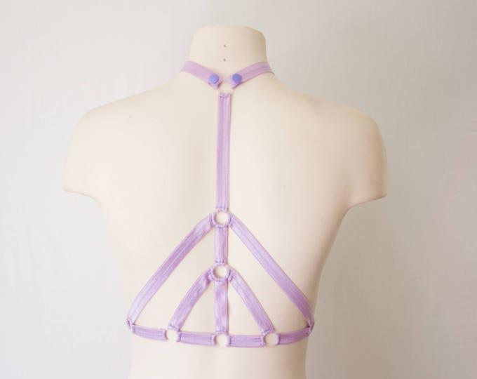 Lavender Lingerie: Purple Bralette, Purple Body Harness, Festival Crop Top, Pastel Goth, Pastel Punk, Dancewear, EDM Fashion, Rave Outfit