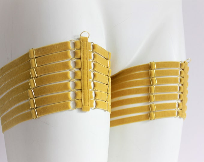 Leg Garters: Velvet Lingerie, Body Harness, Body Accessories , Adjustable Harness, Skinny Strappy,  Mustard Yellow, Stretch Harness, Elastic