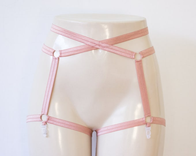Rose Cage Garter Belt: Rose Body Cage Garters, Rose Suspender Belt, Brown Lingerie, Rose Body Harness, Exotic Dancewear, Festival Lingerie