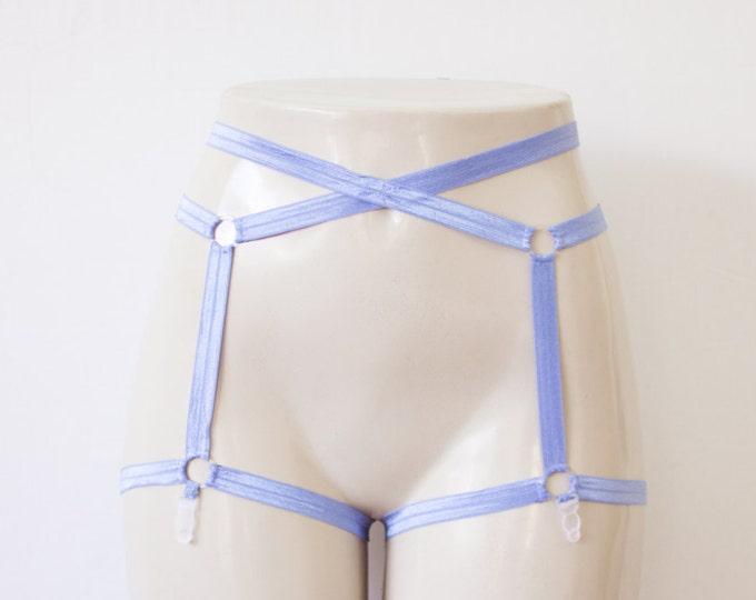 Cage Garter Belt: Harness Garter, Harness Lingerie, Body Harness, Blue Lingerie, Blue Garter, Strappy Lingerie, Plus Size Garter, Festival