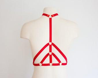 Red Body Harness: Cage Bra, Festival Lingerie, Red Lingerie, Exotic Dancewear, Harness Lingerie, Strappy Lingerie, Red Burlesque Lingerie