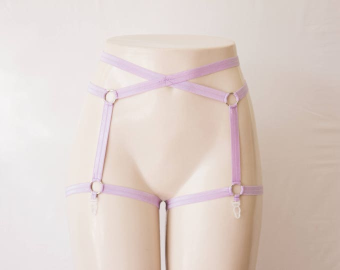 Purple Garter Belt: Pastel Punk, Purple Lingerie, Festival Costume, Burlesque Garter, Exotic Dancewear, Pin Up Fashion, Lavender Harness