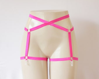 Glow Clothing: Festival Costume, Rave Outfit, Dancewear, Neon Lingerie, Pink Lingerie, Pin Up, Pink Garter Belt, Pink Body Harness, Strappy