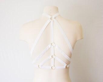 Wedding Lingerie: White Body Harness, White Cage Bra, Festival Outfit, White Lingerie, Exotic Dancewear, Harness Lingerie, Skeleton Costume