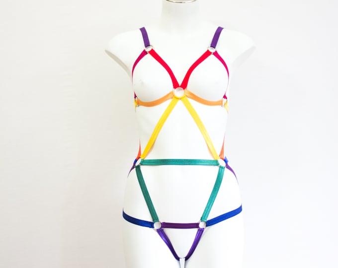 Rainbow Clothing: Festival Bodysuit, LGBTQ Clothing, Exotic Dancewear, Ombre Lingerie, Ravewear, Lesbian Lingerie, Green Bodysuit, Plus Size