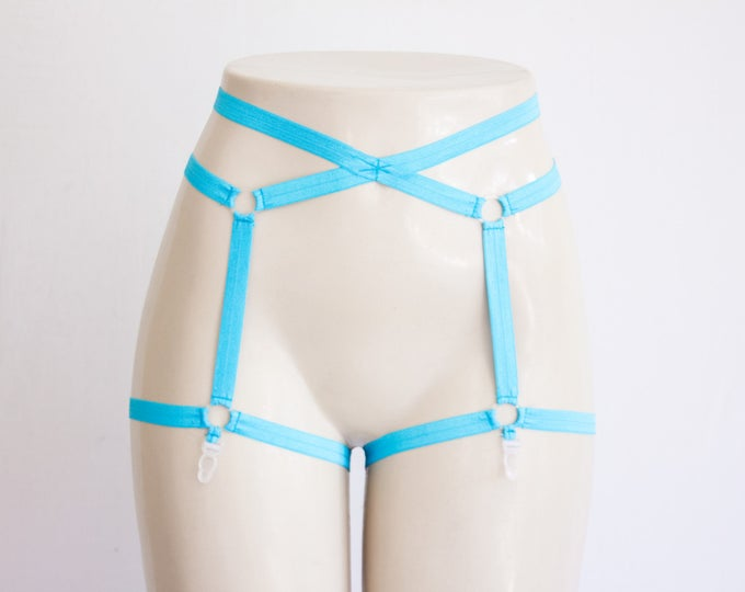 Blue Lingerie Garter Belt: Neon Clothing, Pin Up Style, Exotic Dancewear, Festival Shorts, Rave Outfit, Blue Clothing, High Waist Underwear
