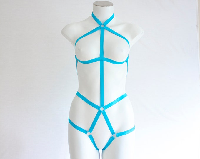 Exotic Dancewear: Rave Outfit, Festival Bodysuit, Strappy Lingerie, Blue Body Harness, High Waist, Halter Top, Neon Clothing, Open Crotch