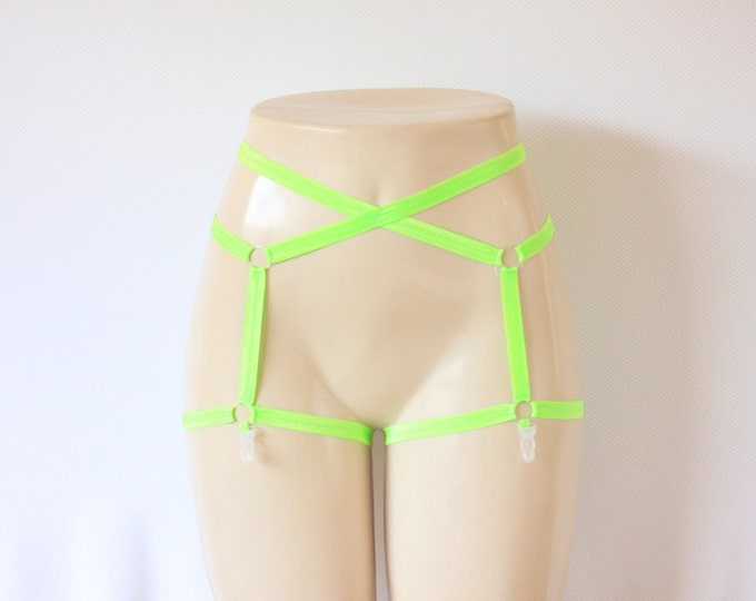 Neon Green Garter Belt: Body Cage, Body Harness, Neon Clothing, Festival Wear, Green Garters, Burlesque Costume, Green Lingerie, Cage Garter