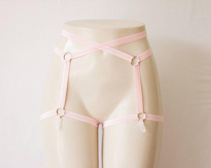 Light Pink Garter Belt: Pink Lingerie, Body Cage, Body Harness, Burlesque Lingerie, Cage Garters, Strap Lingerie, Pink Suspenders, Plus Size