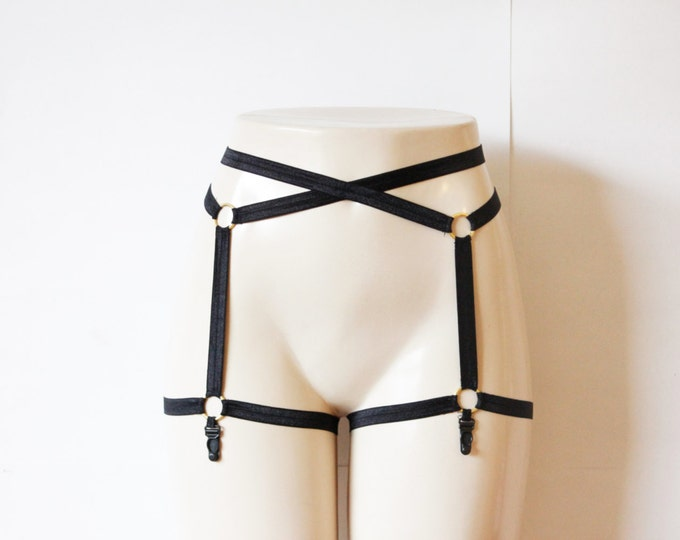 Sexy Black Garter Belt: Body Cage Garters, Body Harness Garter Belt, Black Lingerie, Black Garters, Burlesque Costume, Black Suspender Belt