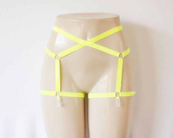 Yellow Garter Belt: Body Harness Lingerie, Strappy Garter Belt, Festival Shorts, Rave Outfit, Exotic Dancewear, Burlesque Costume Lingerie