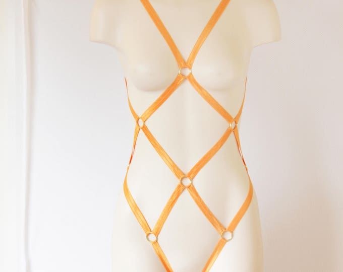 Orange Body Harness: Orange Lingerie, Exotic Dancewear, Festival Bodysuit, Strappy Lingerie, Burlesque Costume, Pumpkin Costume, Fish Net