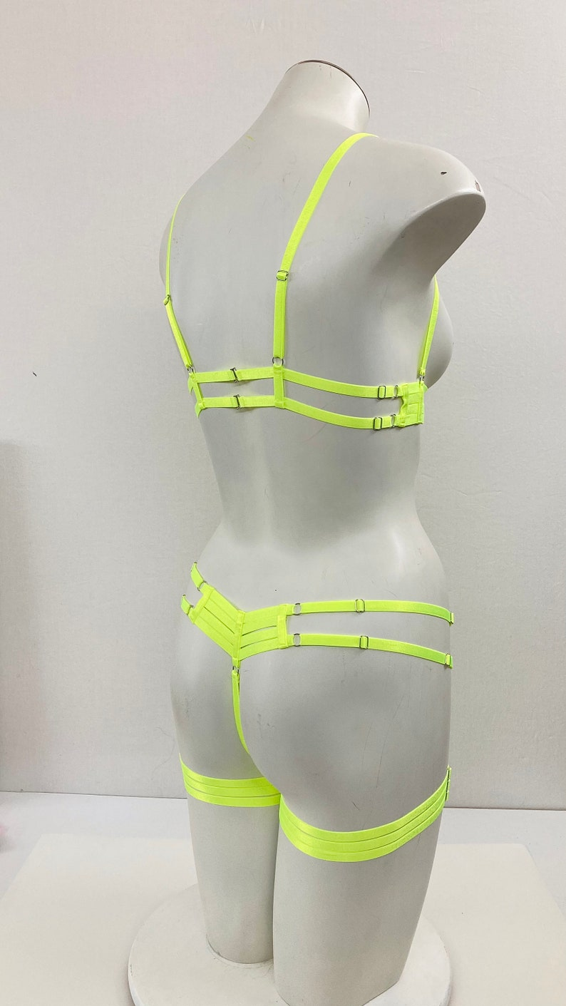 Neon Lingerie Rave Festival Harness: Neon Yellow Body Harness Lingerie Burlesque Outfit Exotic Dancewear UV Blacklight Reactive Pin Up