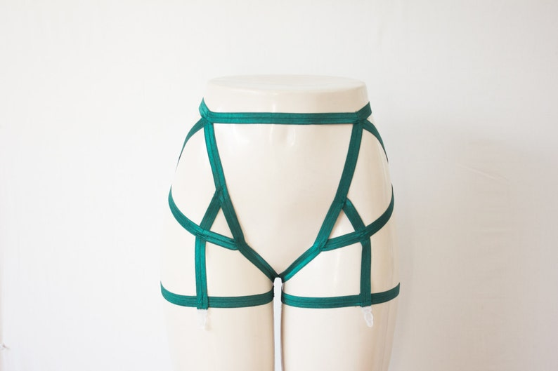 Green Garter Belt  Green Lingerie Body Harness Body Cage  dcb432521