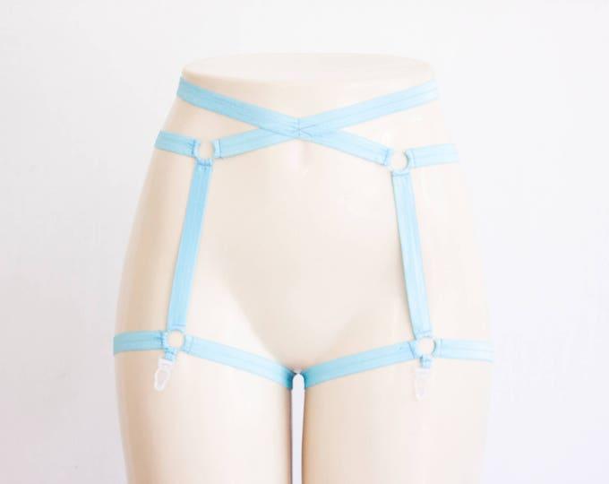 Garter Belt: Harness Lingerie, Blue Garter, Blue Lingerie, Exotic Dancewear, Bondage Lingerie Plus Size Lingerie Festival Outfit Cage Garter